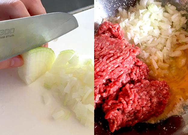 玉ねぎとひき肉、パン粉がわりの麩に卵をまぜます